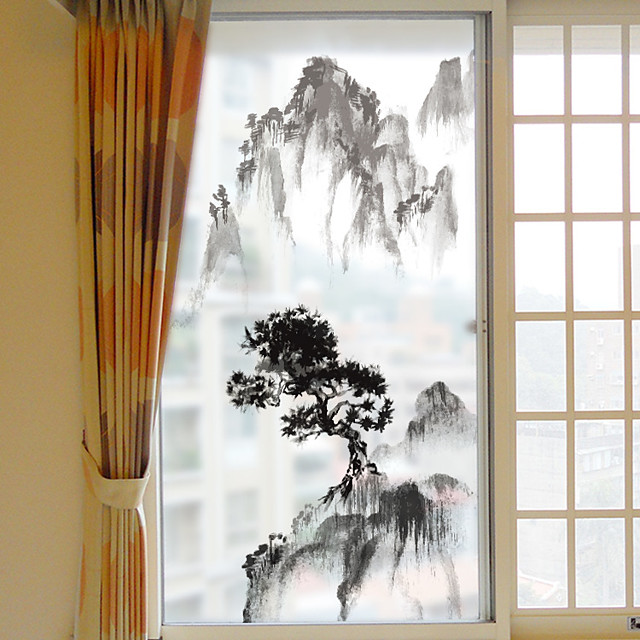 Mountain Landscape Pattern Matte Window Film Cling Vinyl Thermal-Insulation Privacy Protection Home Decor For Window Cabinet Door Sticker / Window Sticker