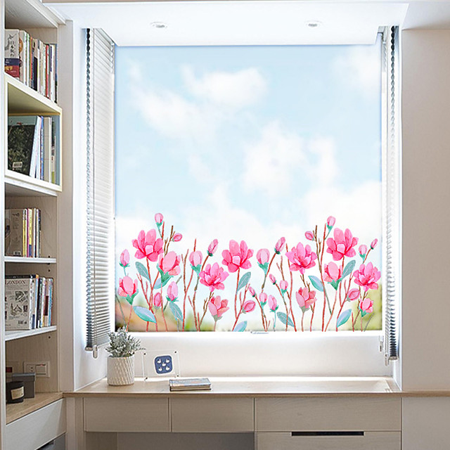 Fashionable Pink Flowers Window Film & Stickers Decoration Matte / Floral Floral / Flower / Floral PVC(PolyVinyl Chloride) Window Sticker / Matte / Door Sticker