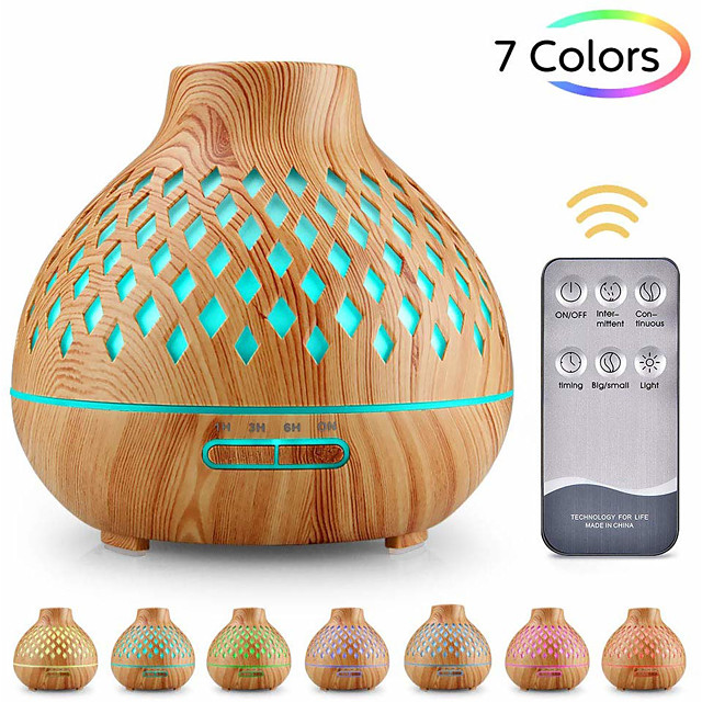 Aroma diffuser 400ml humidifier Ultrasonic fragrance lamp Atomization Electric diffuser with 7 colors LED Essential oils Humidifier for home yoga office SPA bedroom