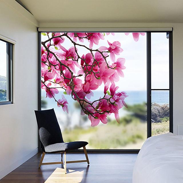 Magnolia Flowers Pattern Matte Window Film Vinyl Removable Private Home Decor / Door Sticker / Window Sticker