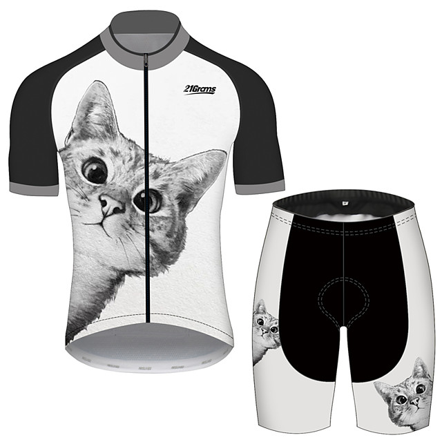 21Grams Men's Women's Short Sleeve Cycling Jersey with Shorts Black / White Cat Animal Bike Clothing Suit UV Resistant Breathable 3D Pad Quick Dry Reflective Strips Sports Cat Mountain Bike MTB Road