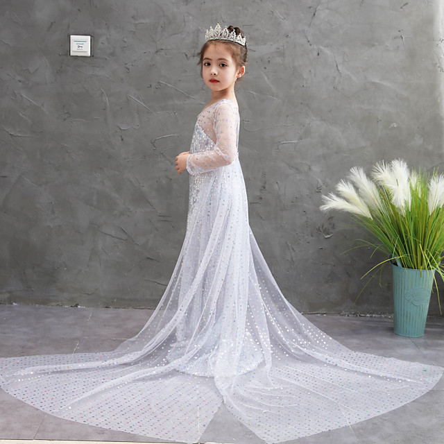 Princess Dress Girls' Movie Cosplay Halloween White Dress Halloween Children's Day