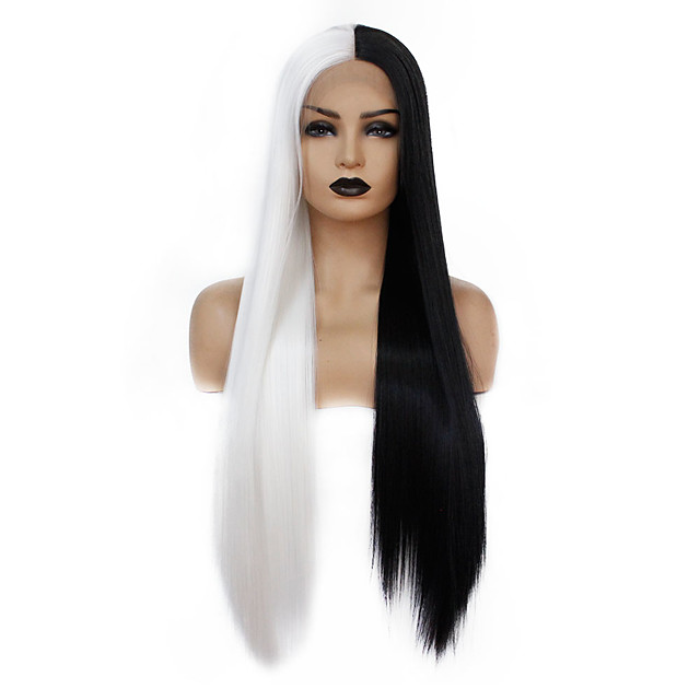 Synthetic Lace Front Wig Straight Gaga Middle Part Lace Front Wig Long Black / White Synthetic Hair 22-26 inch Women's Heat Resistant Women Hot Sale Black White / Glueless