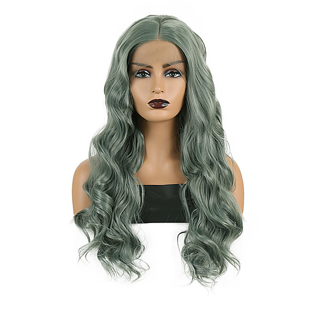 Synthetic Lace Front Wig Body Wave Middle Part Lace Front Wig Long Green Synthetic Hair 18-26 inch Women's Heat Resistant Synthetic Easy dressing Green / Natural Hairline / Natural Hairline