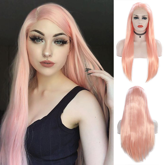 Synthetic Lace Front Wig Silky Straight Free Part Lace Front Wig Pink Long Pink Synthetic Hair 18-24 inch Women's Cosplay Heat Resistant Party Pink