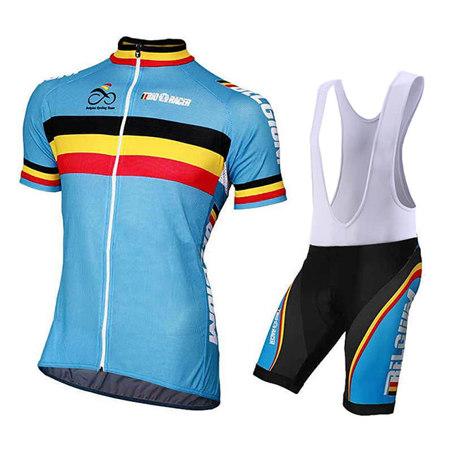 21Grams Men's Short Sleeve Cycling Jersey with Bib Shorts Polyester Spandex Black / Blue Geometic Bike Clothing Suit UV Resistant Breathable 3D Pad Quick Dry Reflective Strips Sports Solid Color