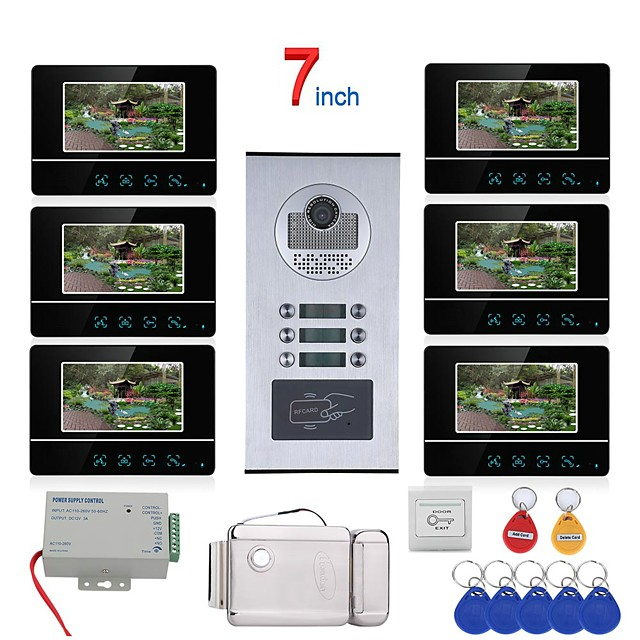 7 inch Touch Button 6 Apartment/Family Video Door Phone Intercom System RFID 1000TVL  Doorbell Camera Electric Strike Lock