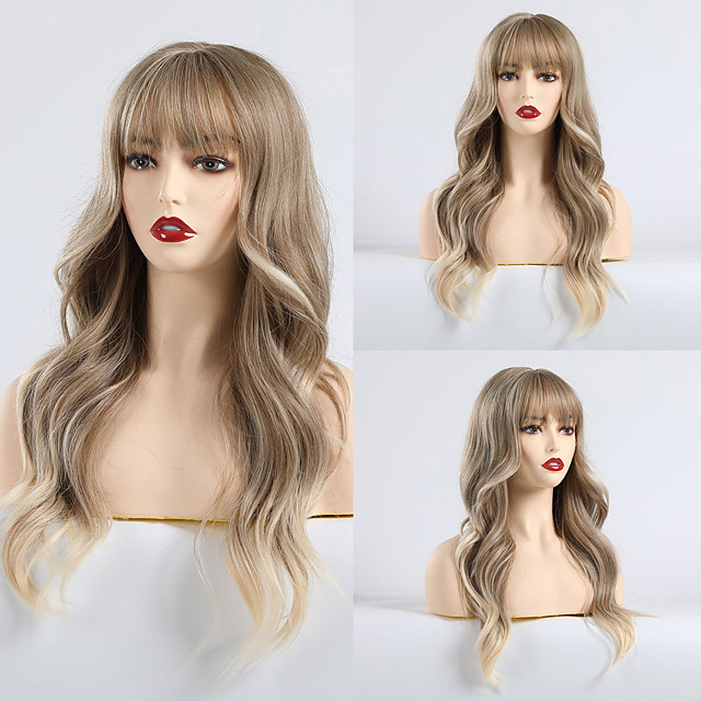 Synthetic Wig Bangs Curly Matte Minaj Neat Bang Wig Long Light Brown Synthetic Hair 24 inch Women's Color Gradient Comfy Light Brown