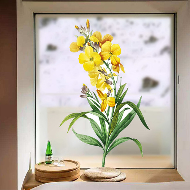 Yellow Flowers in Bloom Window Film & Stickers Decoration Matte / Floral Floral / Flower / Floral PVC(PolyVinyl Chloride) Window Sticker / Matte / Door Sticker
