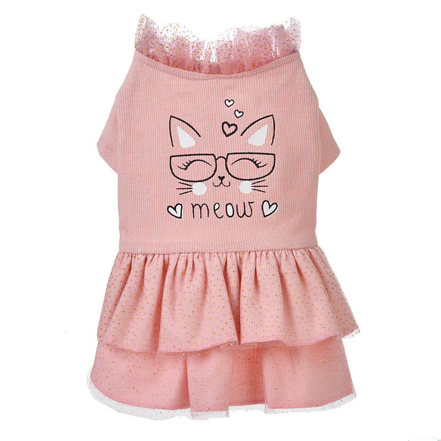 Dog Cat Dress Dog Clothes Pink Costume Husky Labrador Alaskan Malamute Polyester Cotton Bowknot Flower Leisure Sweet XS S M L XL