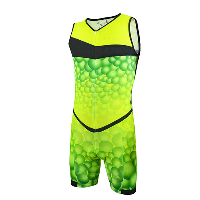 21Grams Men's Sleeveless Triathlon Tri Suit Polyester Spandex Green / Yellow Bike Clothing Suit UV Resistant Breathable Quick Dry Sweat-wicking Sports Bubble Mountain Bike MTB Road Bike Cycling
