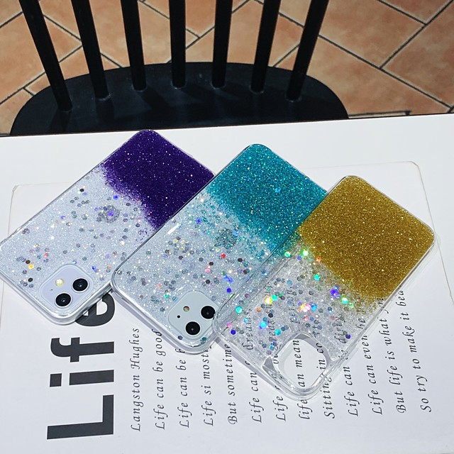 Case For Apple iPhone 11 / iPhone 11 Pro / iPhone 11 Pro Max Shockproof / Glitter Shine Back Cover Solid Colored / Glitter Shine TPU