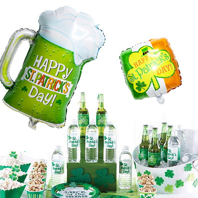 Irish Pub ST Patrick's Day Balloon Decoration Lucky Clover Bottle Up Beer 1PC