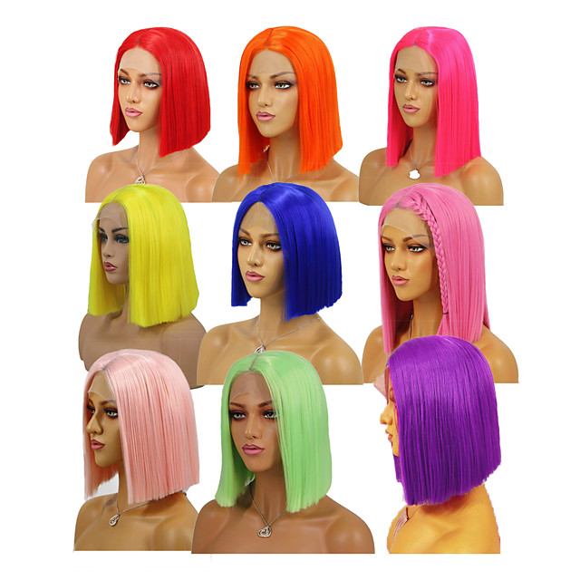 Synthetic Lace Front Wig Silky Straight Middle Part Lace Front Wig Short Watermelon Red Rose Gold Pink Green Purple Synthetic Hair 8-16 inch Women's Soft Heat Resistant Synthetic Red Yellow