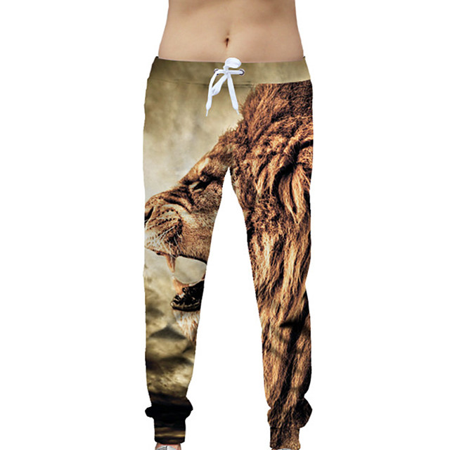 YEEZZI® Men's Sweatpants Joggers Jogger Pants Track Pants Sports & Outdoor Athleisure Wear Bottoms Drawstring Fitness Running Jogging Breathable Soft Sport Coffee Animal Patterned 3D Print Lion
