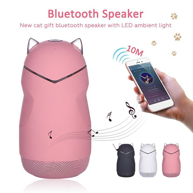 New Cat Gift Bluetooth Speaker With LED Atmosphere Light Subwoofer Cartoon Innovative Hands-Free Calling Wireless Speakers