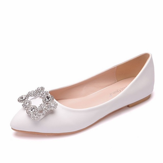Women's Wedding Shoes Flat Heel Pointed Toe PU Spring & Summer White