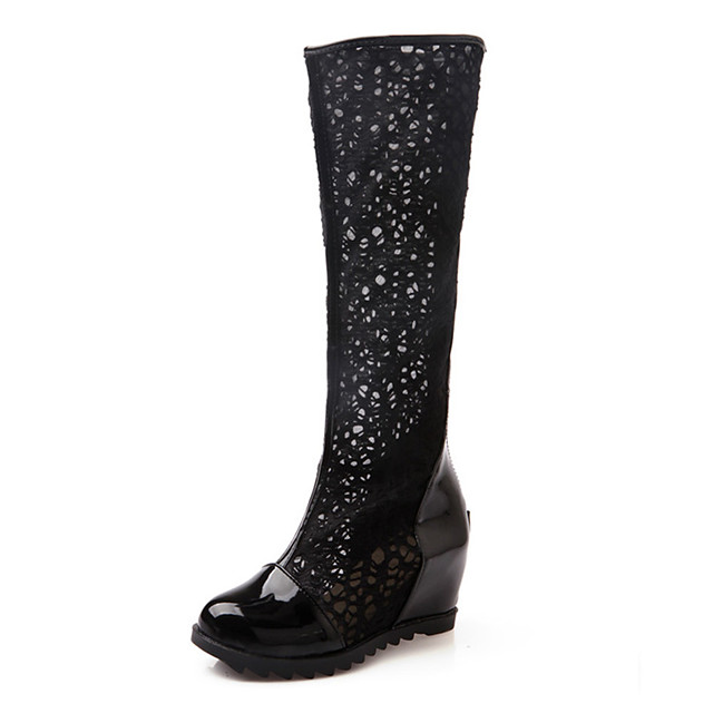 Women's Boots Wedge Heel Round Toe Synthetics Spring &  Fall Black / White / Beige