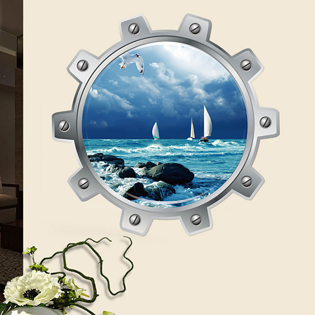 Sea Sailboat Wall Sticker Wall Art Home Decoration Accessories Bedroom Decor Wall Stickers Home Decor Living Room