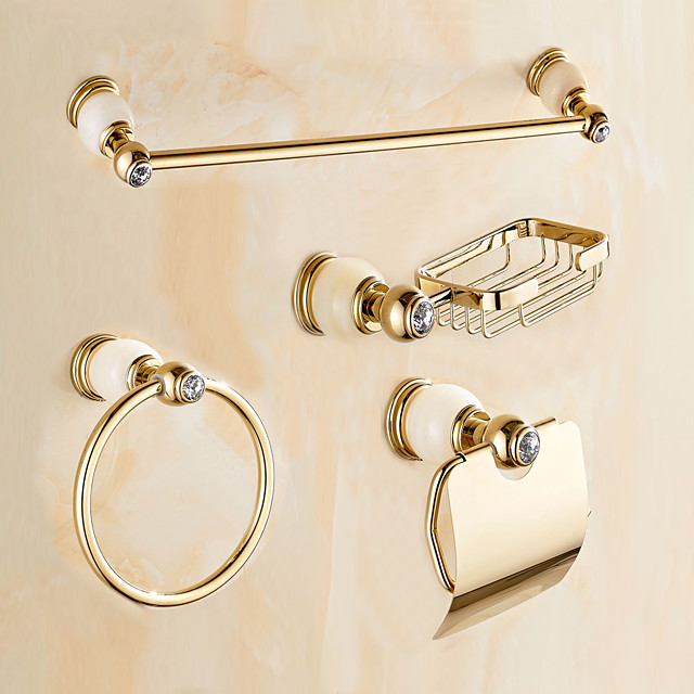 Bathroom Accessory Set Contemporary Brass Wall Mounted