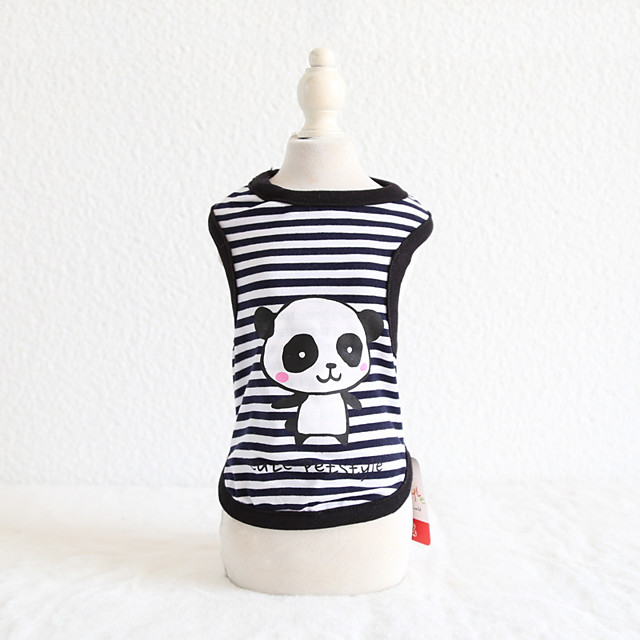 Dog Costume Vest Rabbit Panda Dog Clothes Breathable Black Blue Pink Costume Beagle Bichon Frise Chihuahua Cotton Stripes Animal Character Ordinary Casual / Sporty XS S M L XL