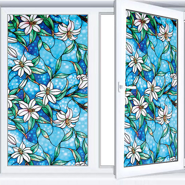 Vinyl Static Cling Window ShadeBlue Orchid Privacy Stained Glass Decorative Window Film Heat Control Window Tint / Window Sticker / Door Sticker