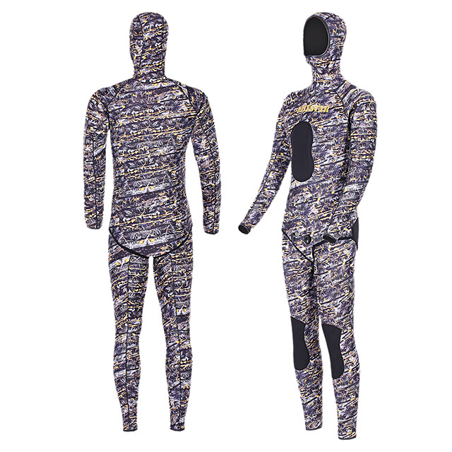 DIVESTAR Men's Full Wetsuit 5mm SCR Neoprene Diving Suit Thermal / Warm Quick Dry Stretchy Long Sleeve 2-Piece - Diving Water Sports Camo / Camouflage Autumn / Fall Spring Summer / High Elasticity
