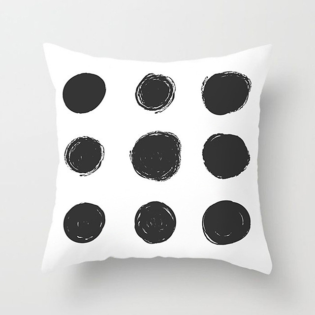 1 pcs Polyester Pillow Cover Nordic Geometry Modern Minimalism Black and White Plaid Pillowcase Cushion SOFA Living Room Office