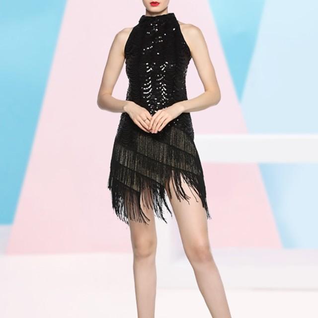 Latin Dance Dress Tassel Paillette Women's Performance Sleeveless Terylene