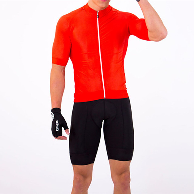 21Grams Men's Short Sleeve Triathlon Tri Suit Red Bike Clothing Suit UV Resistant Breathable Quick Dry Sweat-wicking Sports Solid Color Mountain Bike MTB Road Bike Cycling Clothing Apparel / Stretchy