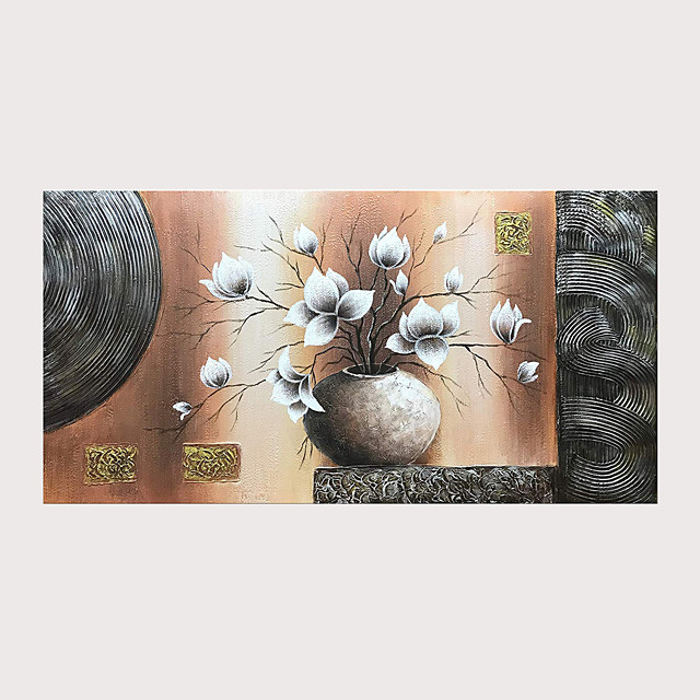 Oil Painting 100% Hand Painted Abstract White Magnolia Flowers Paintings on Canvas with Stretched Frame Ready for Hanging