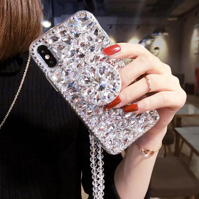 iPhone11Pro Max Luxury Rhinestone Phone Case XS Max Full Diamond Stand with Lanyard 6/7 / 8P Protective Shell