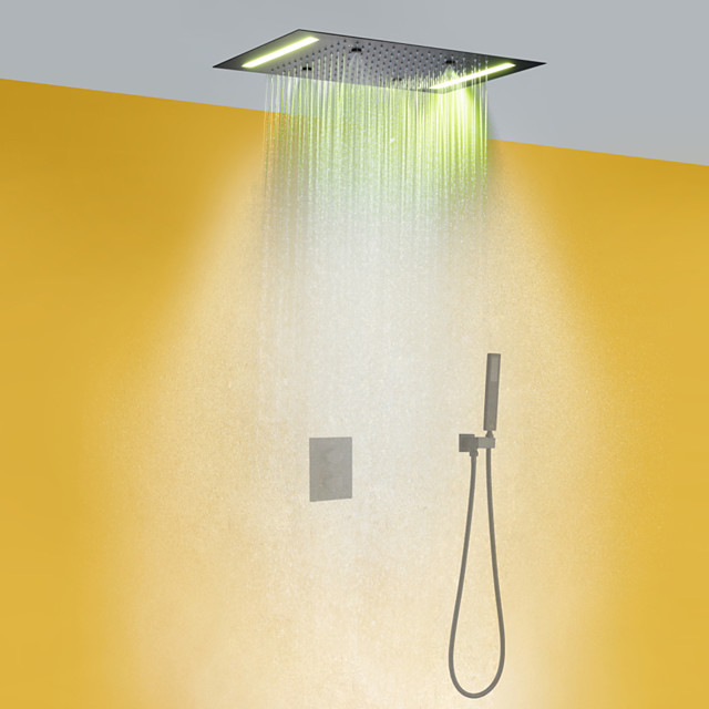 Thermostatic Shower Faucet Set - Handshower Included LED Rain Shower Contemporary Chrome Wall Mounted Brass Valve Bath Shower Mixer Taps
