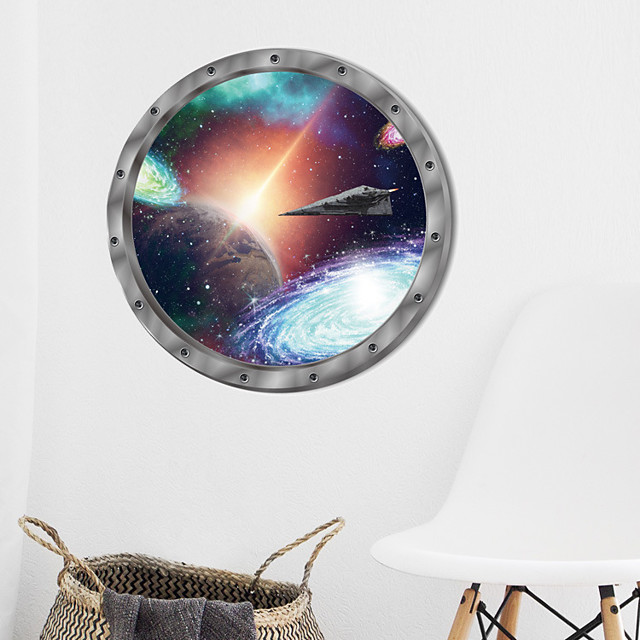 Cosmic Space Wall Sticker Galaxy Star Bridge Home Decoration for Kids Room Living Room Wall Decals Home Decor / Toilet Seat Wall Sticker Art Bathroom Decals Decor