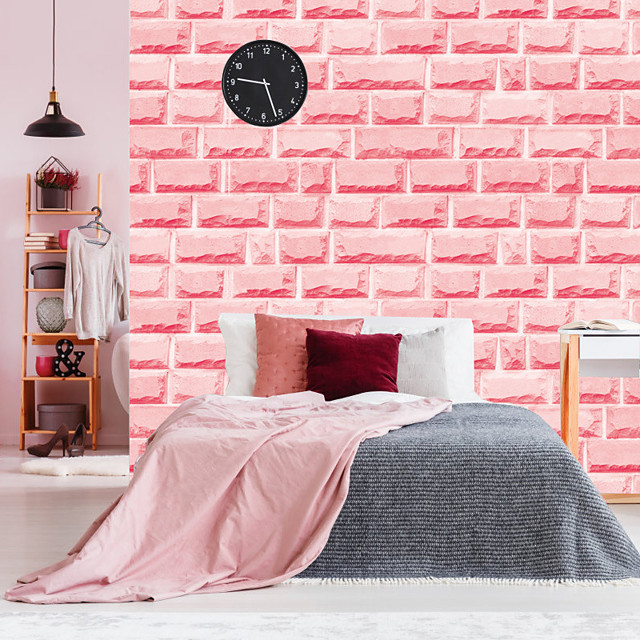 Pink Brick Self Adhesive Wallpaper 3D Waterproof Home Decor Wallpapers for Living Room Decorative Wall Stickers 45CM*100CM