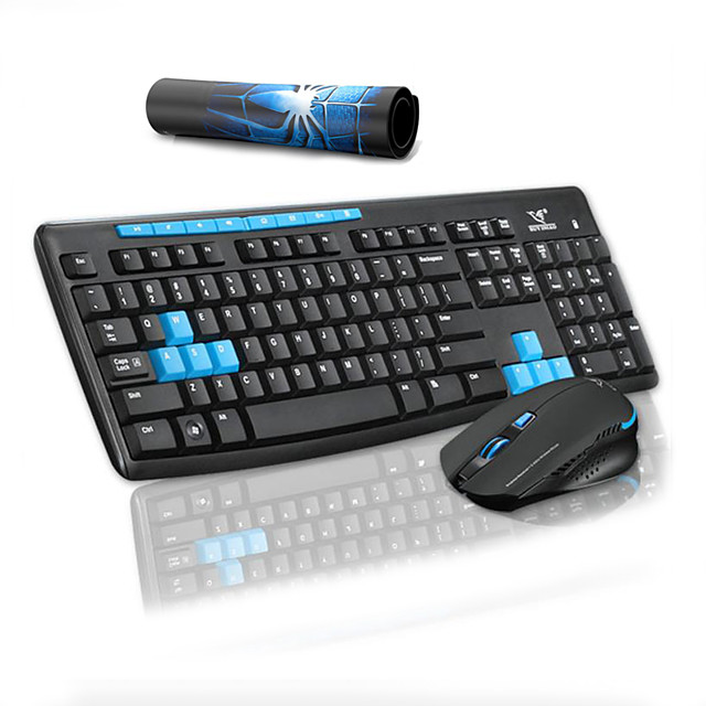 Multimedia Wireless Keyboard Mouse and Pad Combos for Office Desktop Laptop 3 Pcs a Kit