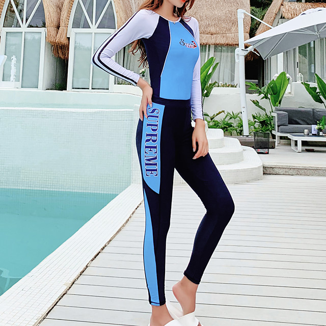 Women's Rash Guard Dive Skin Suit Elastane Swimwear Quick Dry Full Body 2-Piece Back Zip - Swimming Diving Surfing Painting Summer / Stretchy