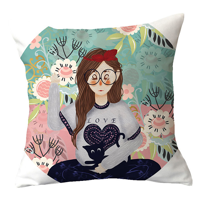 1 pcs Polyester Pillow Cover Cartoon Cuties Hand-drawn Characters Pillowcases Office Cars Couches Chloroplastida Cushions Backrest Covers