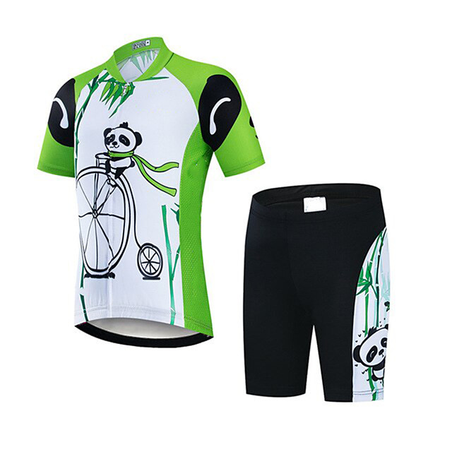 21Grams Boys' Short Sleeve Cycling Jersey with Shorts - Kid's Black / Green Panda Bike Clothing Suit UV Resistant Breathable Quick Dry Sweat-wicking Sports Panda Mountain Bike MTB Road Bike Cycling
