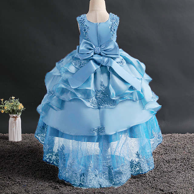 Princess Dress Flower Girl Dress Girls' Movie Cosplay A-Line Slip Cosplay Red / Pink / Ink Blue Dress Halloween Carnival Masquerade Tulle Bead Polyester