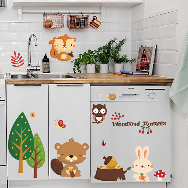 Cartoon Cute Forest Animals Designed Wall Sticker Flower for Livingroom Home Decor DIY Wall Sticker for Children Room Kids Babies Bedroom