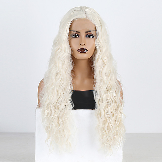 Synthetic Lace Front Wig Curly Loose Curl Side Part Lace Front Wig Blonde Long Platinum Blonde Synthetic Hair 18-26 inch Women's Heat Resistant Classic Synthetic Blonde / Natural Hairline