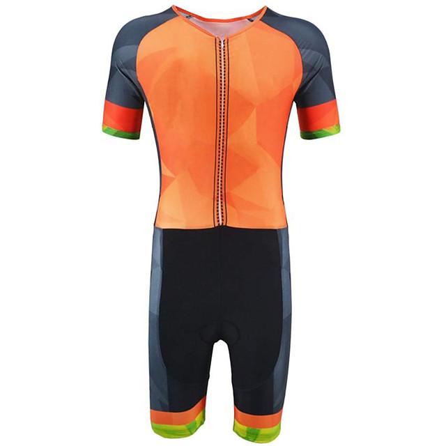 21Grams Men's Short Sleeve Triathlon Tri Suit Polyester Spandex Black / Orange Plaid / Checkered Geometic Bike Clothing Suit UV Resistant Breathable 3D Pad Quick Dry Sweat-wicking Sports Plaid