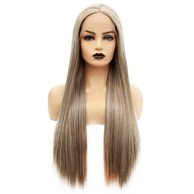 Synthetic Lace Front Wig Straight Gaga Middle Part Lace Front Wig Long Brown Synthetic Hair 22-26 inch Women's Heat Resistant Women Hot Sale Brown / Glueless