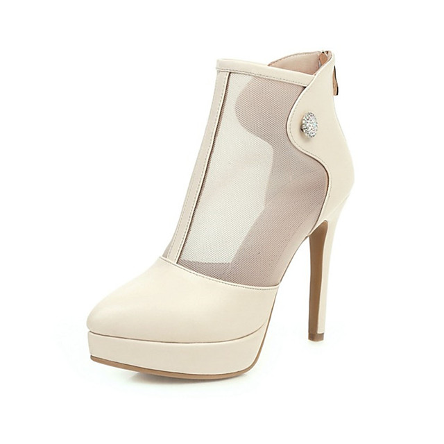 Women's Boots Stiletto Heel Pointed Toe PU Spring &  Fall Black / White / Wedding