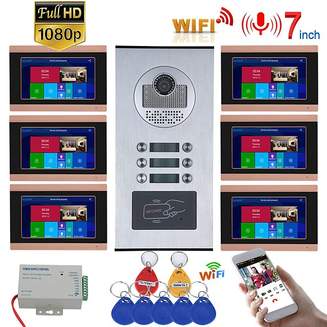 7inch Record Wired Wifi Video Intercom 6 Apartments with 6 Family RFID Doorphone System IR-CUT HD 1080P Doorbell Camera