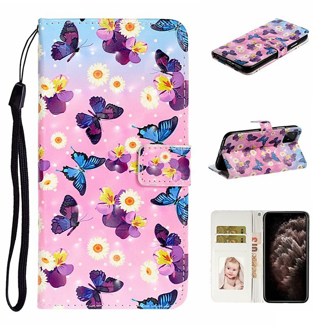 Case For Apple iPhone 11 / iPhone 11 Pro / iPhone 11 Pro Max Wallet / Card Holder / with Stand Full Body Cases Butterfly PU Leather For iPhone XS Max/XS/XR/X/8 Plus/7/6/6s Plus/5/5S/SE