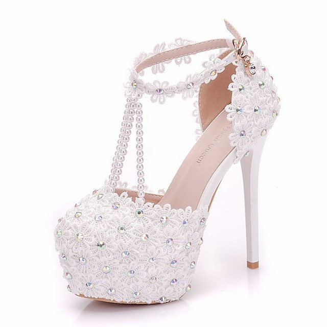 Women's Wedding Shoes Stiletto Heel Round Toe PU Spring & Summer White