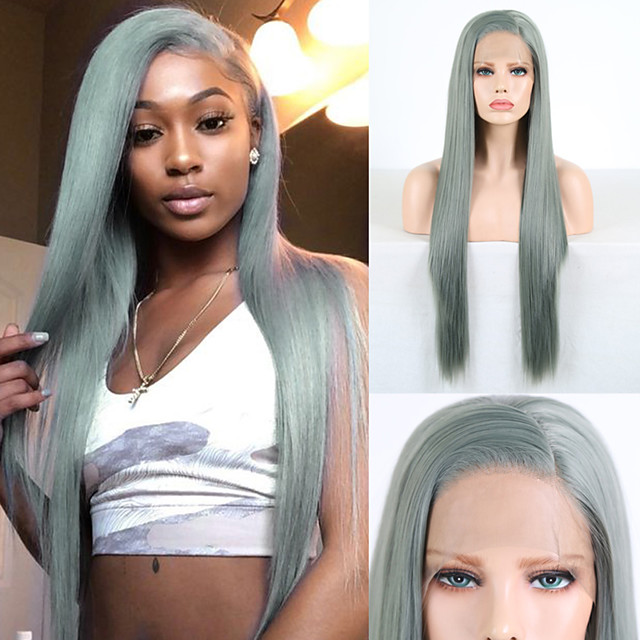 Synthetic Lace Front Wig Natural Straight Silky Straight Side Part Lace Front Wig Long Green Synthetic Hair 18-24 inch Women's Cosplay Heat Resistant Party Green / Natural Hairline / Natural Hairline