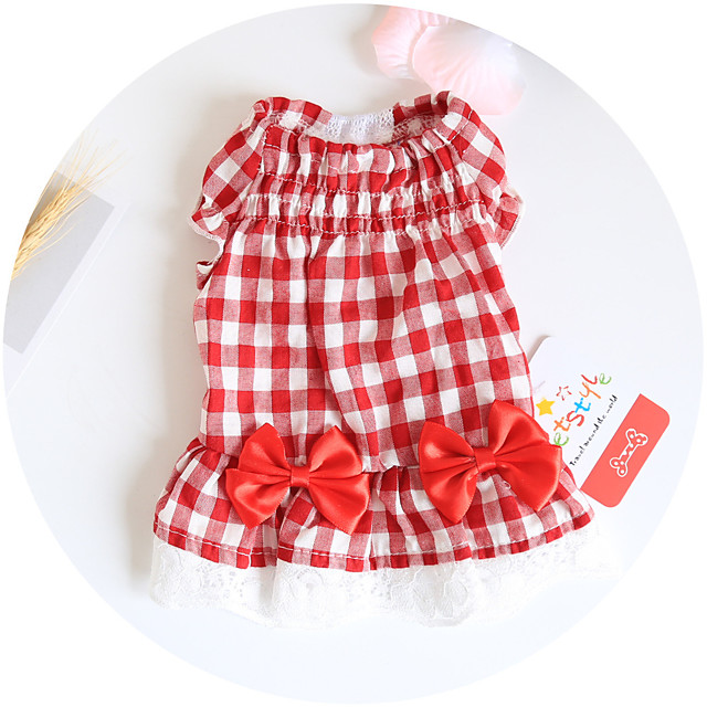 Dog Costume Dress Princess Dog Clothes Breathable Red Blue Costume Beagle Bichon Frise Chihuahua Cotton Plaid / Check Bowknot Party Cute XS S M L XL